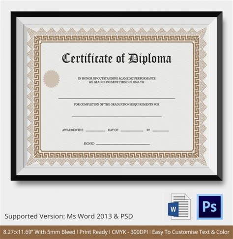 diploma word template diploma certificate template 25 free word pdf psd