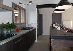 cuisine gris noir photo cuisine noire sol gris chambre With deco cuisine gris et noir