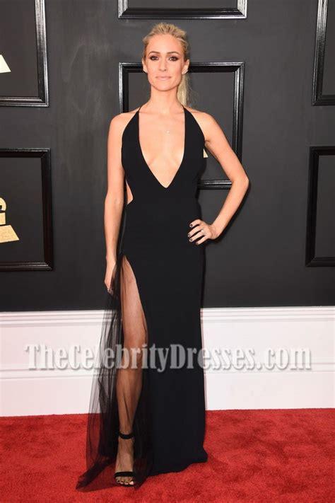 Kristin Cavallari 2017 Grammy Awards prom gown Black Deep ...
