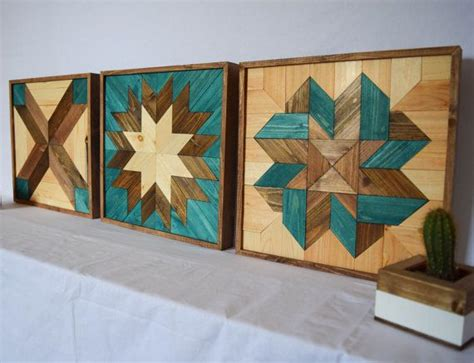 wood wall art turquoise bundle tryptic set   star quilt patterns modern wooden wall