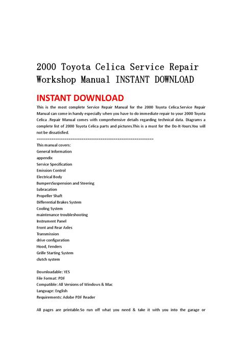 service repair manual free download 2004 toyota celica on board diagnostic system 2004 2006 toyota tundra service repair workshop manual instant download by jshefjsne issuu