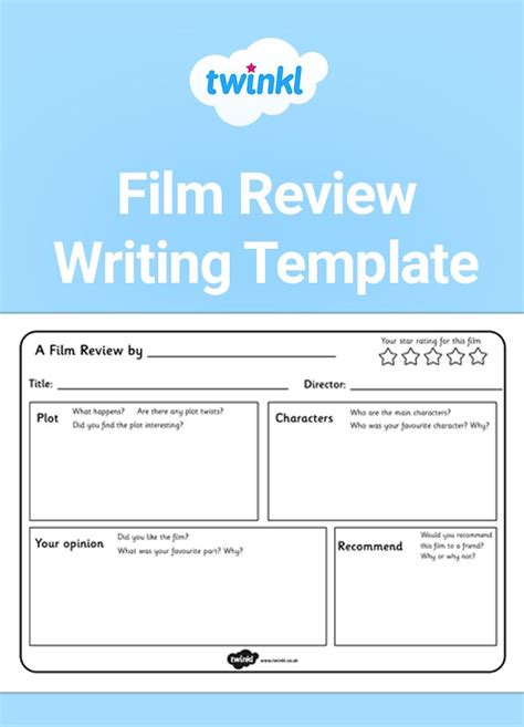 film review writing activity  resource