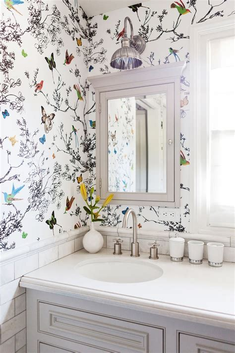 Bathroom Wallpaper by Home Tour A Youthful Whimsical L A Home Wallpaper