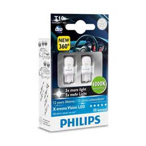 philips xtreme vision 360 led w5w t10 4000k side light bulbs powerbulbs
