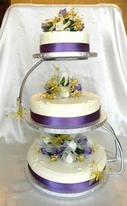 3 tier purple and gold wedding cake | Gold Wedding Ideas ...