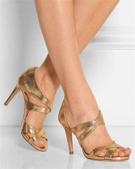 Jimmy Choo Valance Snakeeffect Leather Sandals  Shoes Post