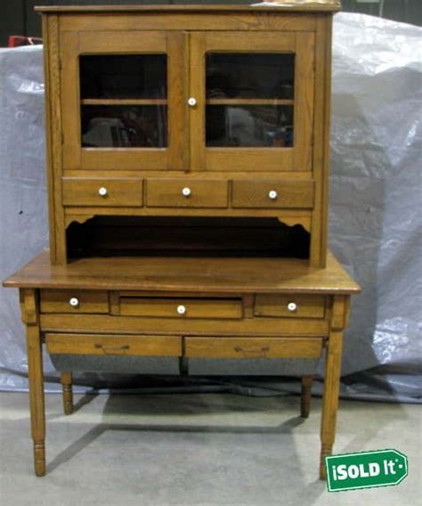 Hoosier Cabinet Reproduction Set by Vintage Antique Wooden Possum Belly Hoosier Cabinet Hutch