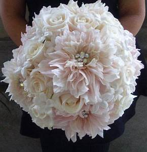 pink dahlia white rose stephanotis wedding bouquet ...