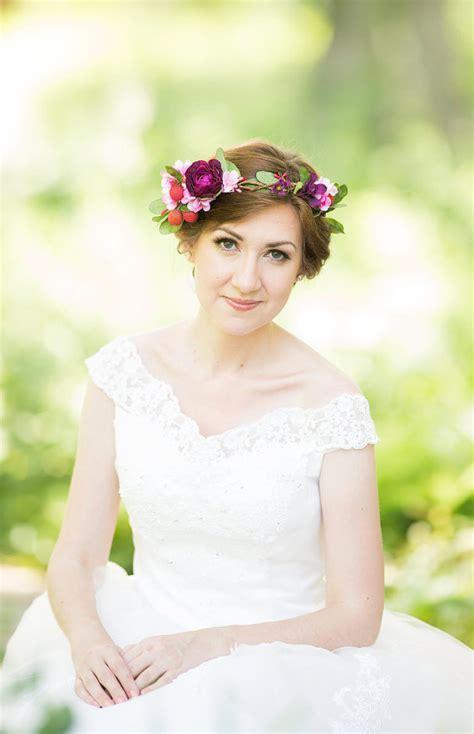 Bridal Flower Crown, Wedding Hair Wreath, Floral Head