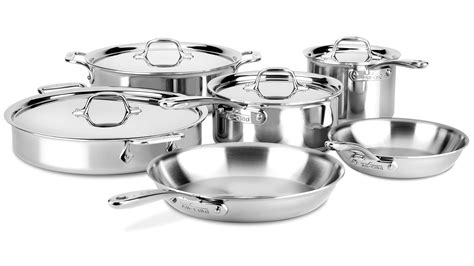 clad  compact cookware set  piece stainless steel cutlery