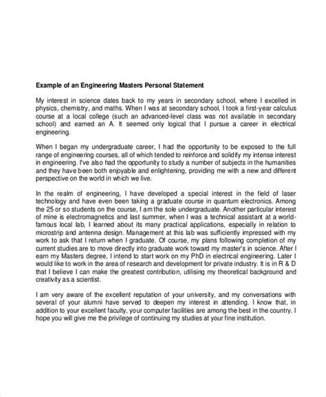 Personal Statement Template 10 Graduate School Personal Statement Exles Free