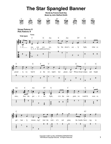 The Star Spangled Banner Sheet Music | Francis Scott Key ...