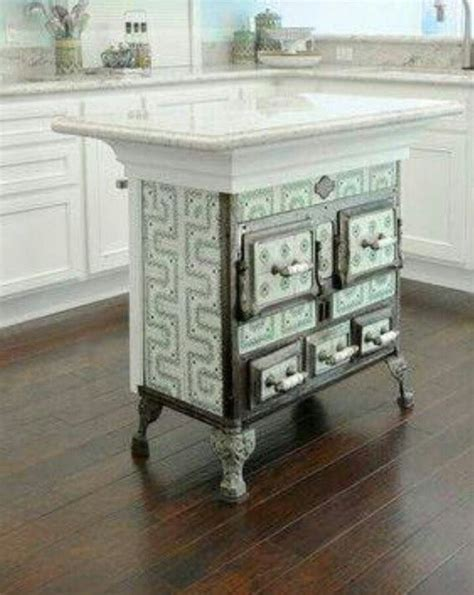 how is a kitchen island antique stove recycled as kitchen island home to dos