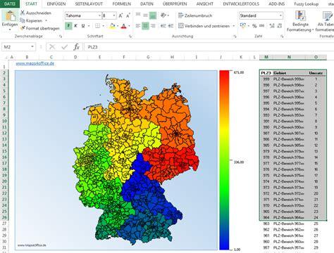 postleitzahlen oder orte auf einer excel deutschlandkarte