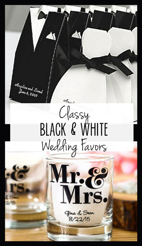 classy black and white wedding favors