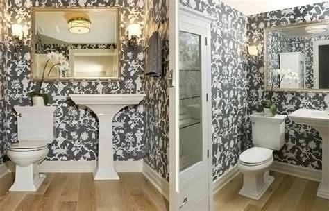 black  white wallpaper   bathrooms  powder rooms