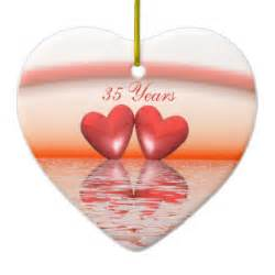 35th wedding anniversary gift 35th anniversary coral hearts sided ceramic ornament
