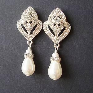 wedding jewelry art deco bridal earrings pearl wedding With wedding ring earrings