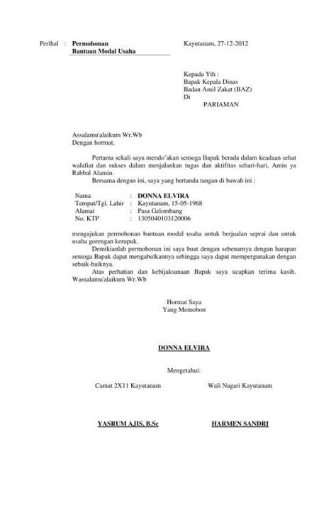 contoh surat permohonan bantuan dana izin kerjasama dll