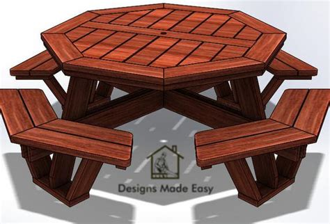 octagon picnic table easy woodworking design plans  etsy
