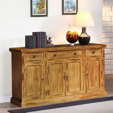 credenza buffet courtdale rustic solid wood 4 door 3 drawer sideboard cabinet