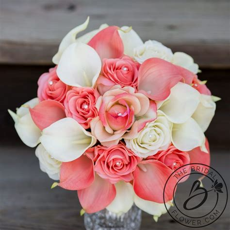 Coral And Ivory Bouquet Artificial Flowers Calla Lilies