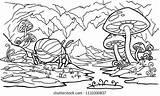 Cave Coloring Mountain Mushrooms Fabulous Plants Shutterstock Vectors Fantasy Landscape sketch template