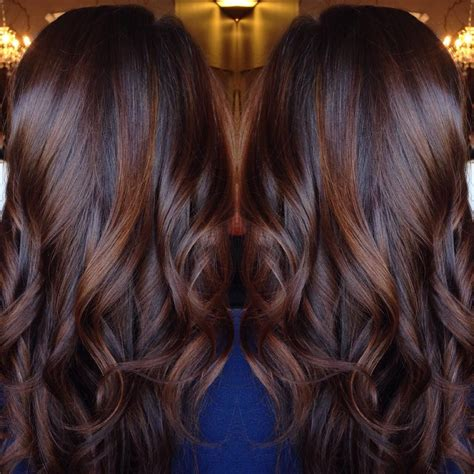 Black Chocolate Brown Hair by Curled Chocolate Brown Hair With Cinnamon Highlights