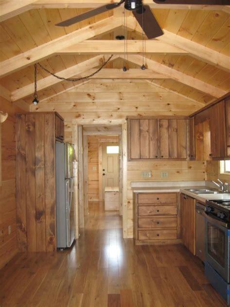 Shotgun Log Cabin Park Model Tiny House (396 Sq. Ft.) by