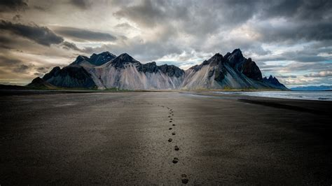 Nature Landscape Mountain Clouds Iceland Footprints