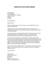 Warehouse Position Cover Letter Supervisor Cover Letter Exle Hashdoc