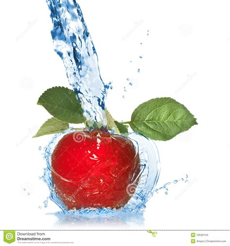 how much water is in an apple red apple with leaves and water splash isolated stock photo image 16530144