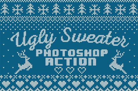 ugly christmas knitted sweaters christmas sweater photoshop action