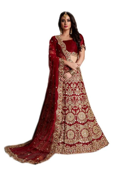 maroon embroidered velvet unstitched lehenga  blouse