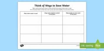 ways to save water worksheet activity sheet water in