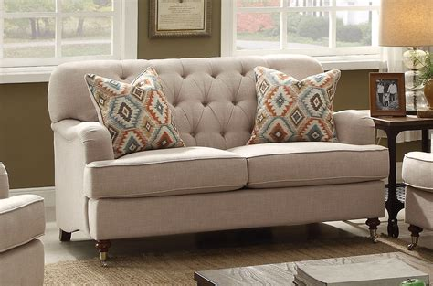Tufted Loveseat by Aliza Contemporary Beige Button Tufted Sofa Loveseat Set