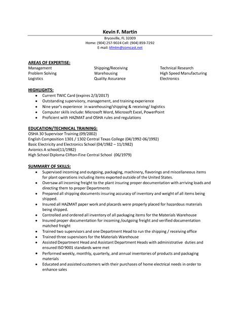 Free Shipping And Receiving Resume Sles by Logistics Resume Sles Transportation Tem