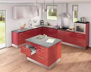 cuisine rouge ilot central indogate inspirations et ilot With cuisine rouge avec ilot central
