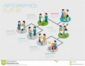 Flat 3d Isometric Web Infographic Organization Chart
