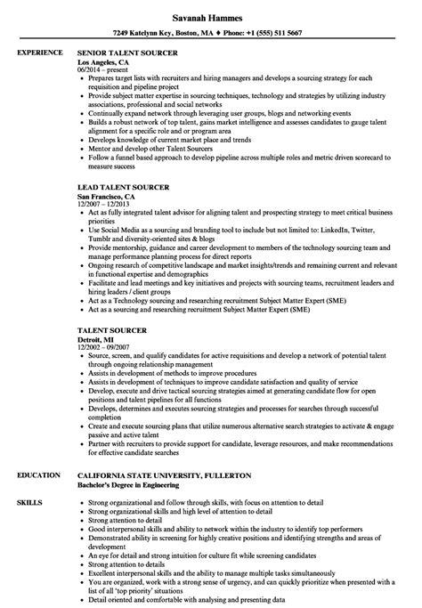 talent sourcer resume samples velvet jobs
