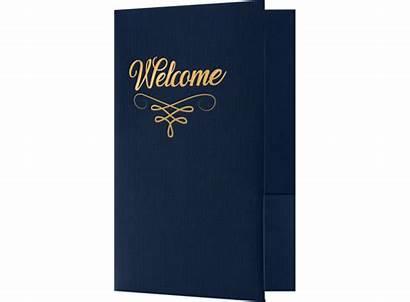 Welcome Folders Dark Foil Flourish Linen 100lb