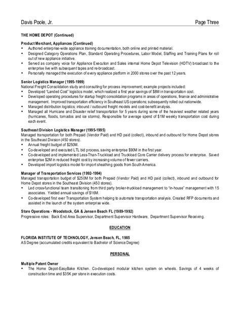 home depot resume sle 28 images best part time lot