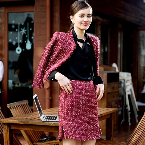 Red tweed jacket+ skirt set 2016 spring / autumn womenu0026#39;s Tweed suit o neck short jacket fish ...