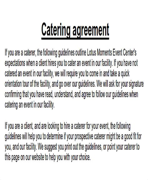 sample catering contract agreement templates word docs