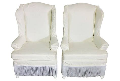 slipcovers for wingback chairs pair of white cotton slipcover wingback chairs for