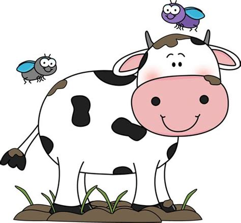 Cute Cow Clip Art Cow In The Mud With Flies Clip Art
