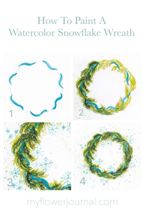 paint  watercolor snowflake wreath  flower journal