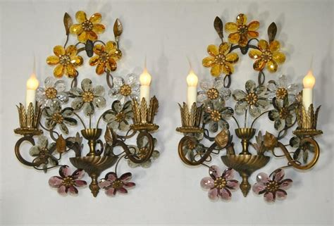 Wall Sconce For Flowers - pair of antique bronze two light wall sconces with