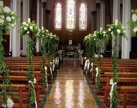 Church Wedding Decorations White Roses With Ruscus And