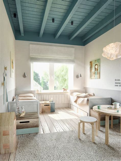 deco chambre style scandinave teal ceiling beams interior design ideas